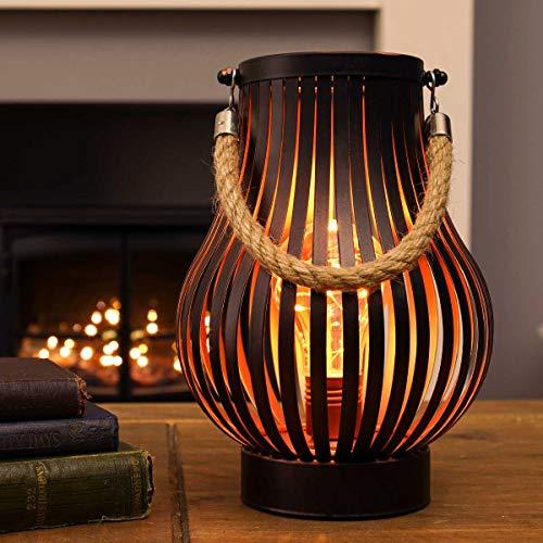 utdoor Metall Windlicht Laterne - Glühbirnen-Design - Timer - LEDs in warmweiß (Bronzefarben) ()