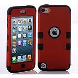 ShopmallHK PC + TPU Mode de conception de style de couleur de contraste Hard Case Hybrid impact Blindé pour Apple iPod Touch 5 (rouge + noir)