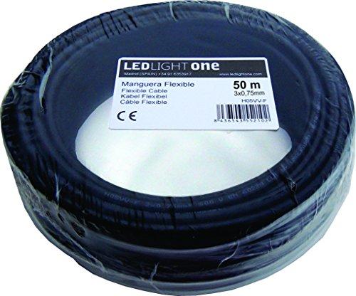 H05VV-F Kabel, mit Ummantelung 3 x 0,75 mm, 50 m, Schwarz -