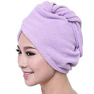 Atdoshop(TM) Microfiber Bath Towel Hair Dry Hat Cap Quick Drying Lady Bath Tool (Purple)