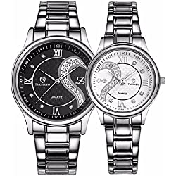 Fq-102 Stainless Steel Romantic Pair His and Hers Wrist Watches for Men Women B+W Set of 2