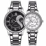 Fq-102Armbanduhren-Set für Sie und Ihn, Edelstahl, Romantisches Uhren-Paar, Uhren für Männer Frauen, schwarz und weiß, 2Stück