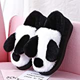 SKYROPNG Slippers Casa Zapatillas,Adorable Oso Panda Blanco Y Negro Caricatura Suave Transpirable Sweat-Absorbent Cálido Invierno Pavimentos Interiores Antideslizamiento Grueso Masc