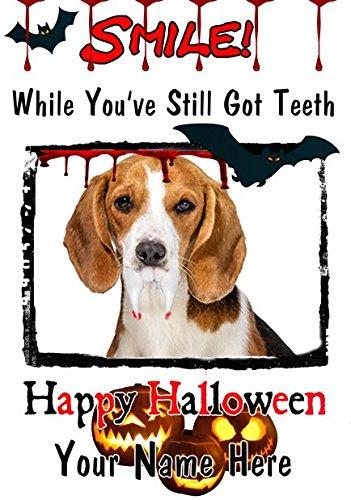Beagle Hund A5personalisierbar Grußkarte Halloween Zähne Smile C11Spooky waagr