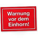 DankeDir! Warnung vor Dem Einhorn Kunststoff Schild, lustiges Einhornschild - süße Deko, Wanddeko - Türschild Mädchen Wohnung/Zimmer - Geschenkidee süßes Geschenk