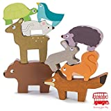 Le Toy Van Wooden Petilou Forest Stacker Tower And Bag Balancing Activity Toy With 9 Animals