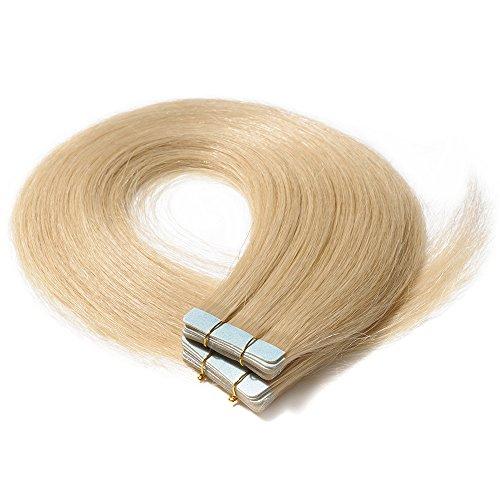 "Tape in Extensions Echthaar Haarverlängerung Tape Klebeband Haar 20 Tressen x 4 cm breit 50g-16""(#613 Blond)"