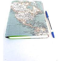Cuaderno de viajes funda de agenda 2019 con tela mapa mundi regalo para usar como diario block de notas libreta planificador anual