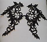 Ein Paar Schwarz oder Rot oder Off Weiß Halsband Spitze Applikationen Spitze Motive je Größe ca. 23,5cm x 13cm–von Pro Paar * * Kostenlose UK P & P * * Schnelle Versand Bestellung * *, baumwolle, schwarz, each piece size approx. 23.5cm x 13cm