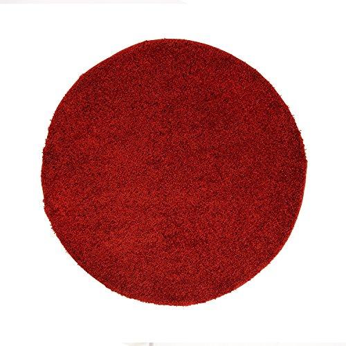 Shaggy-Teppich, Flauschiger Hochflor Wohn-Teppich, Einfarbig/ Uni in Rot für Wohnzimmer, Schlafzimmmer, Kinderzimmer, Esszimmer, Größe: 120 x 120 cm Rund