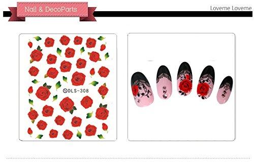 Autocollants de transfert à eau pour la décoration des ongles Rose - DLS308 Nail Sticker Tattoo - FashionLife