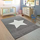 Paco Home Alfombra Habitación Infantil Niño Niña Moderna Gran Estrella En Gris Blanco, tamaño:80x150 cm