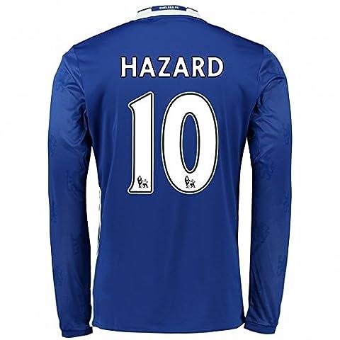 Manches longues 2016201710Eden Hazard Chelsea FC HOME Jersey de Football de football en bleu moyen bleu