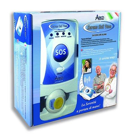 Pflegeruf-Set Sereno SOS PLUS mit (Not-) Ruf an Handy oder Telefon – über Funk-Armbandsender und Mobilfunknetz