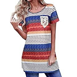 E-SCENERY Women Blouse and T-Shirt Womens Blouse Lace Pocket Short Sleeve T Shirt Striped Casual Blouse Tunic Tops Small Red