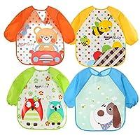Skroad Long Sleeve Baby Bibs for 6-36 Months, Unisex Waterproof Feeding Bibs for Infant Child Toddler, 4-Pack