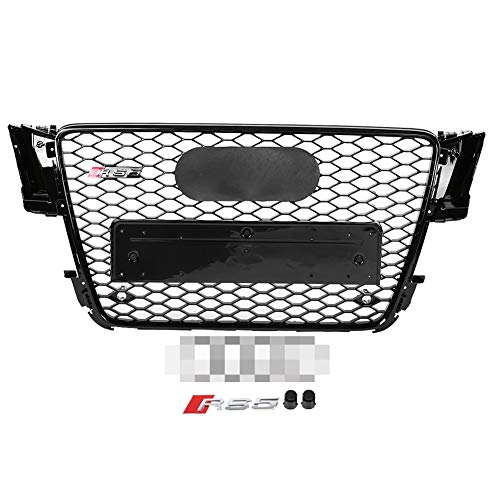 Qii lu Car Bumper Grille, ABS Kunststoff Front Sport Hex Mesh Honeycomb Hood Gloss für A5 / S5 B8 08-12, RS5 Style