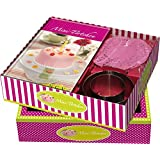 Buch-Box Mini-Törtchen: Rezeptbuch + 2 Kuchenringen & rosa Tortenspitzen