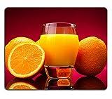 luxlady Naturkautschuk Gaming Mousepads Glas Orangensaft und Orangen auf Rot Hintergrund Bild-ID 27828673