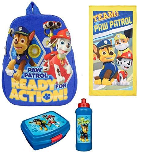 Familando Paw Patrol Plüsch Rucksack-Set 4-TLG. für Kindergarten / Krippe 0121991 Plus Strandtuch 70x140 cm; 100% Baumwolle und Dose /Flasche blau -