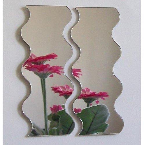 Super Cool Creations Par de Espejos ondulados - 35 cm x 14 cm Juntos 35 cm x 28 cm