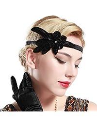 BABEYOND Fascia Anni 20 Gatsby Flapper Headband Fascia Charleston Anni 20 Fascia Capelli Gatsby Cerchietto Sposa di Anni 20 Strass Cerchietto Strass Donna Anni 20 (Nero)