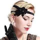 BABEYOND 1920s Stirnband Feder Flapper Stirnband 20er Jahre Stil Haarband Gatsby Accessoires Damen Retro Stirnband (Schwarz)