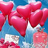 galleryy.net 70 Pinke Helium Herz-Luftballons - Komplett-Set aus pinken Herzballons, Ballonflugkarten, Helium Einwegflasche zum Hochzeitsballon steigen Lassen zur Hochzeit - ideal für Hochzeitsspiele