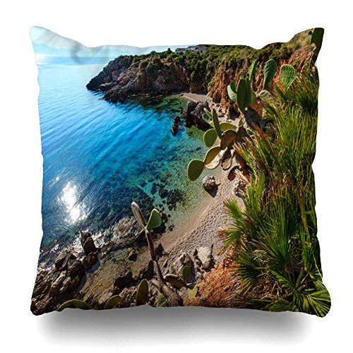 Mbefore Decorativepillows Case Throw Pillows Covers, Paradise Sea Bay with Azure Water and Beach View from Home Sofa Cushion Cover Pillowcase,Set of 1,26x26 inches -