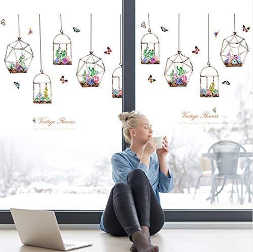 xsongue wandaufkleber Bunte Blumen Kakteen Hängen In Der Glasflasche Wandaufkleber Schmetterling Aufkleber Für Wohnzimmer Schlafzimmer Kunst Decals Wandbilder