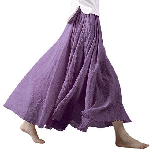 Nlife Frauen böhmische Baumwolle Leinen Double Layer elastische Taille langen Langer RockMaxi Rock- Gr. 95CM, Lavender -