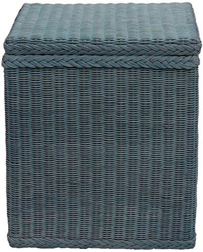 Wäschekorb / Wäschebox mit Deckel und Inlett aus echtem Rattan, Wäschetruhe (Blau)