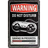 Nostalgic-Art 22264, Achtung, Gaming in progress, Blechschild 20x30 cm
