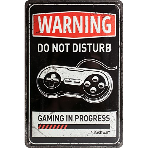 Nostalgic-Art 22264, Atención, Gaming in Progress, Cartel de Chapa 20 x 30 cm