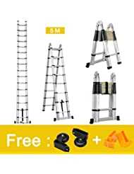 Finether-5M Escaleras Plegable y Telescópica (Portátil,Multi-Propósito,Extensible,Aluminio,con Bisagras,Certificada por EN131,Capacidad de 150kg,Perfecta para Casa,Desván y Oficina)