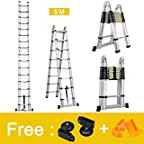 Finether 5 M Échelle Télescopique 2 en 1 Escabeau Pliant Ladder ( Multifonctions, Extendable,...