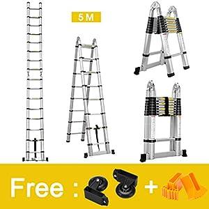 Finether 5M Escalera Telescópica de Aluminio Escalera Plegable Multifuncional Portátil Escalera Extensible Certificada por EN131, Capacidad de 150kg, Profesional
