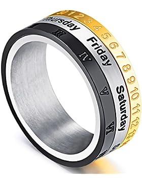 Herren Drei Farben Kalender Monat Woche Ring Römische Ziffern Kreisen Edelstahl Einzigartiges Fingerring