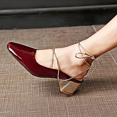 LvYuan Da donna-Sandali-Matrimonio Formale Casual Serata e festa-Club Shoes-Quadrato-Finta pelle-Nero Borgogna Burgundy