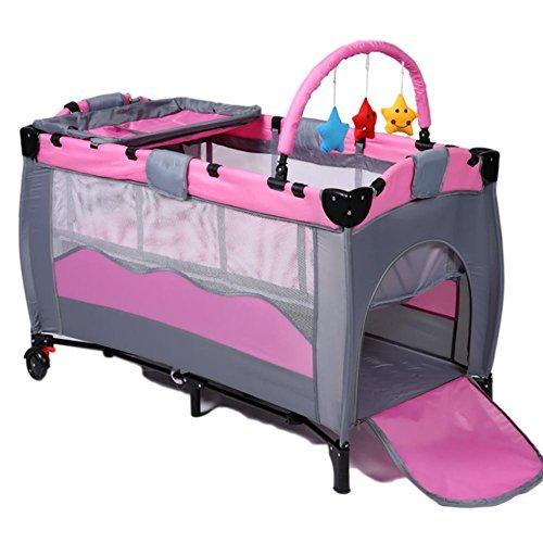 YINGER Krippe Hohen Konfiguration Zusammenklappbar Spiel Betten Baby-Bett Doppelzimmer design Reisen Sie mit Baby Laufstall Krippe , pink
