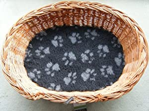 Luxury Wicker Pet Dog Basket Oval 61 x 44cm (small), with fitted fleece vet bed,  by Gadsby