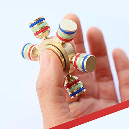 Preisvergleich Produktbild ADOGO Finger-Kreisel Handkreisel mit 6 abziehbaren Lagern,aus Kupfer,Spinner Fidgt für Erwachsenen und Kinder,Erleichterung für ADHD, Angststörung und Langweile, im Dunkel leuchten