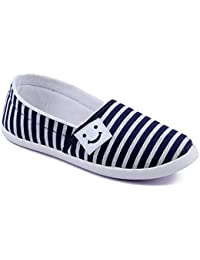 ASIAN Women's Blue White Canvas Shoes -5 UK