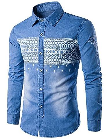 Chemises en jean Homme Manches longues fashion Uni Glestore