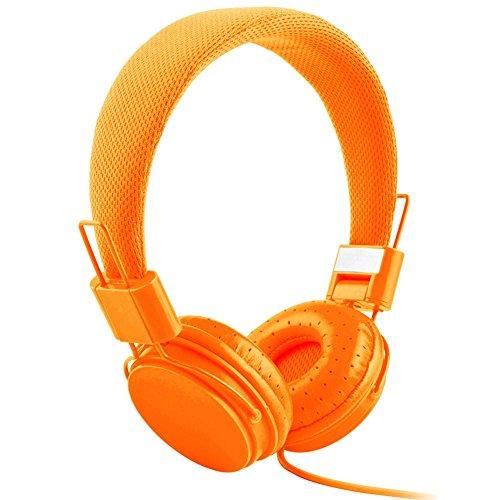 lywey Verstellbare Wired Headset, Glitzerperlen Faltbare Kid Kopfhörer Kopfhörer mit Mikrofon Stereo Bass Orange Orange