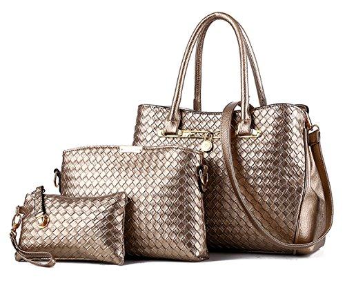 Tibes sac à main de mode Femmes cuir PU sacs Set de 3P sac tissé Sac bandoulière de luxe Sac de filles B d'or