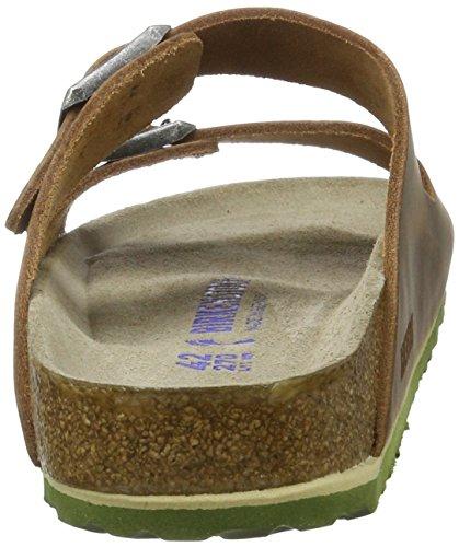 Birkenstock Unisex-Erwachsene Arizona Leder Softfootbed Pantoletten Braun (Antik Braun)