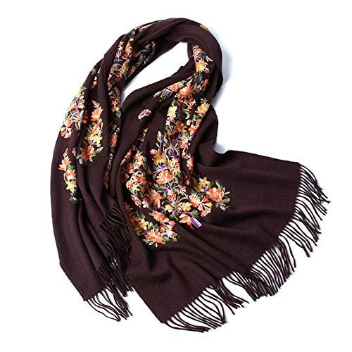 Junjiagao Schal Bestickte Wolle Schal Herbst und Winter Warme Weibliche Weiche Wilde Farbe Kragen Schal Größe 200 * 70 cm (Farbe : Braun, Größe : Einheitsgröße)