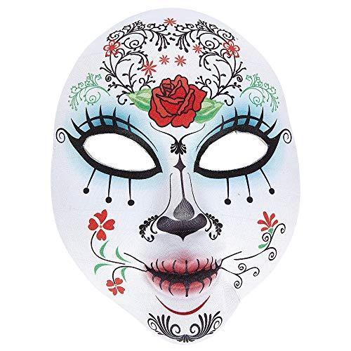 Widmann 05707 Maske Dia de los Muertos halb Gesicht aus Stoff für Erwachsene, weiß