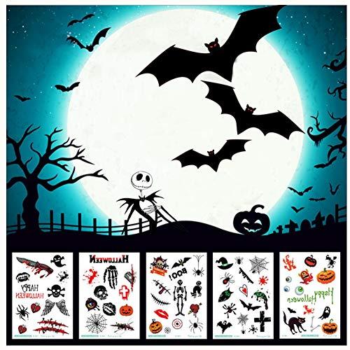 Halloween Tattoo Aufkleber 8 Blätter, lustige Geister Kürbis Zweige Spinne Wunde Narbe Bat Dance Party Dekoration
